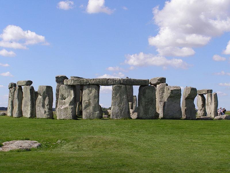 Stonehenge, blue skies and clouds.