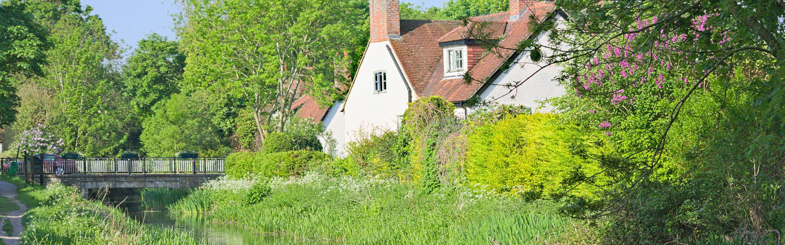 Old Cottage Reflected in the Wendover Canal during Spring.