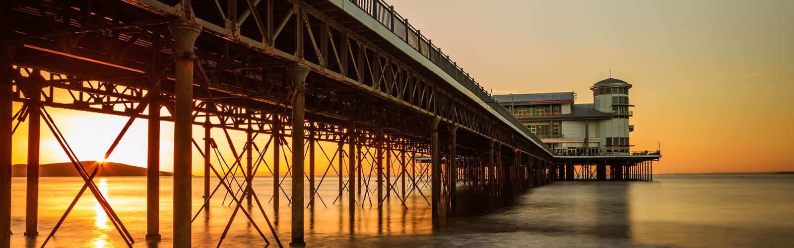 Weston-super-Mare pier at sunset.