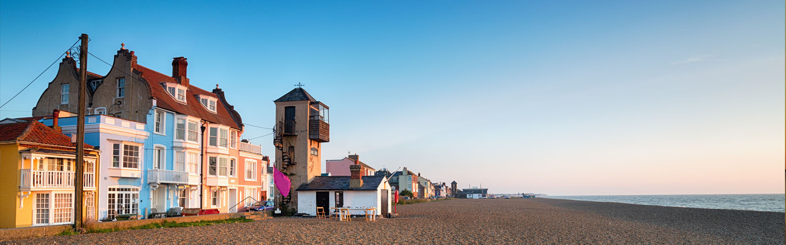 The seafront and beach in Aldeburgh on the Suffolk coast.