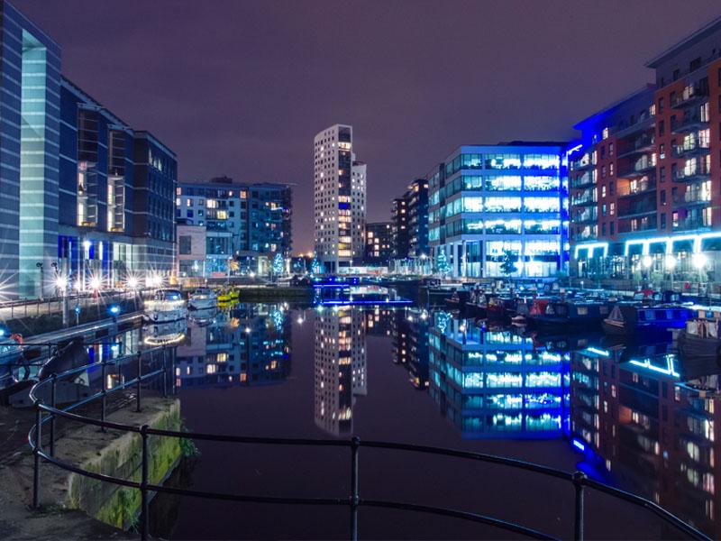 Leeds city center at night.