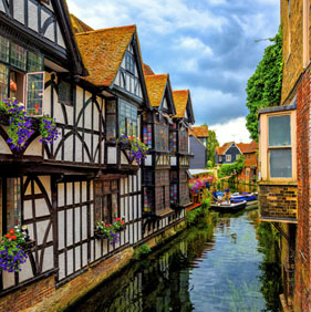 Canterbury old town with stream running through it.