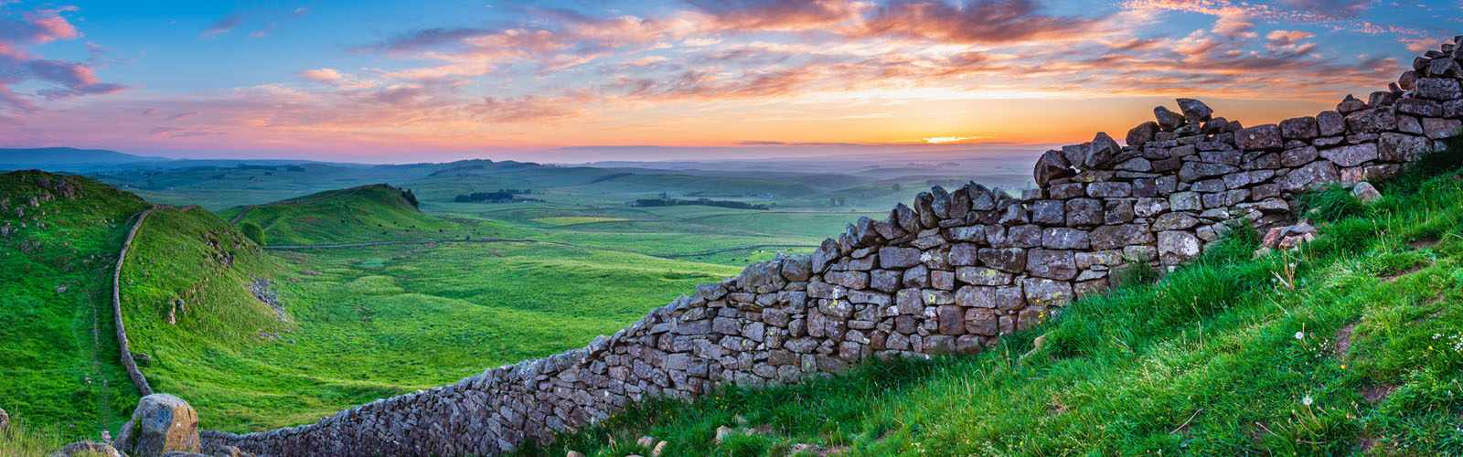 Hadrian's Wall at Sunset, a World Heritage Site in the beautiful Northumberland National Park.