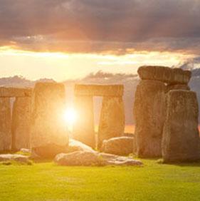 Stonehenge with the sunsetting.