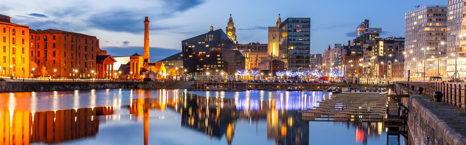 Night view of Liverpool, skyline towards Albert Dock.