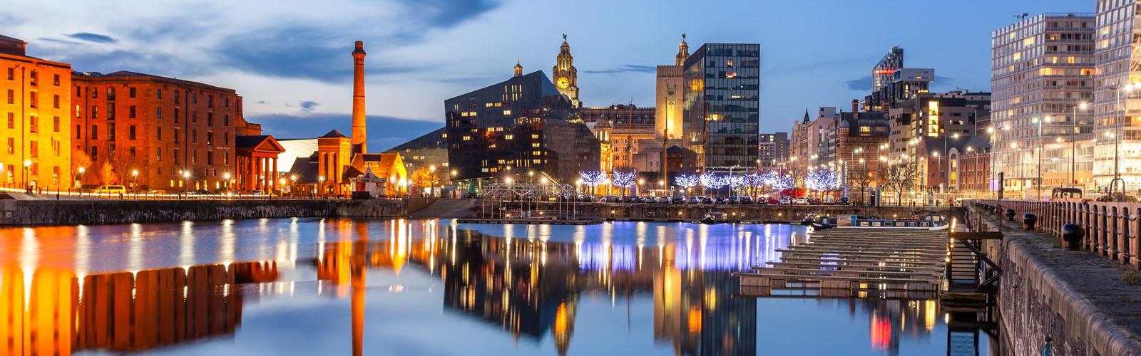Night view of Liverpool, skyline towards Albert Dock.