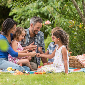 A family enjoying a picnic on a glorious summer's afternoon.