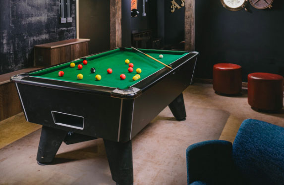 Pool table in a holiday home.