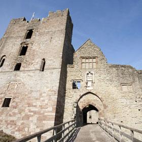 Bridge to entrance arch of Ludlow castle.