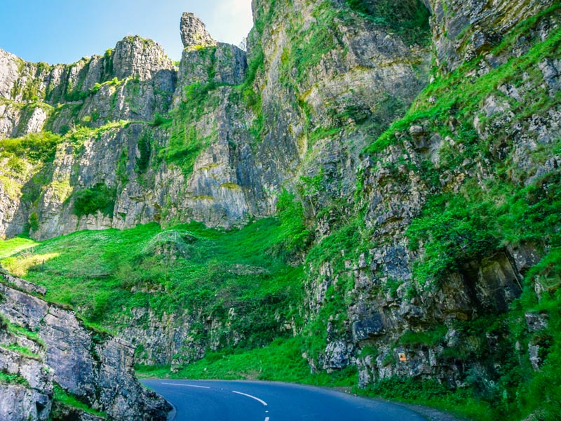 Road going up Cheddar Gorge.