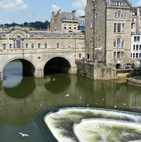 Center of Bath city in Somerset.