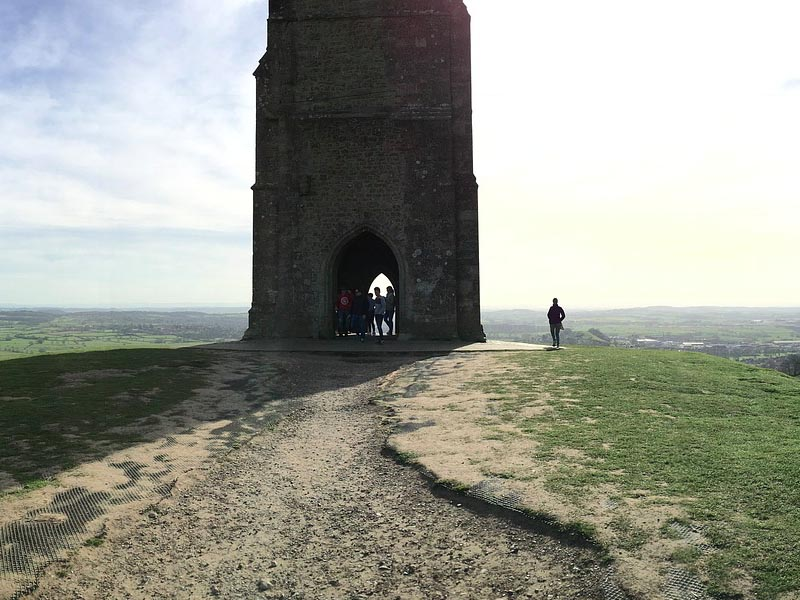 The top of Glastonbury Tor.