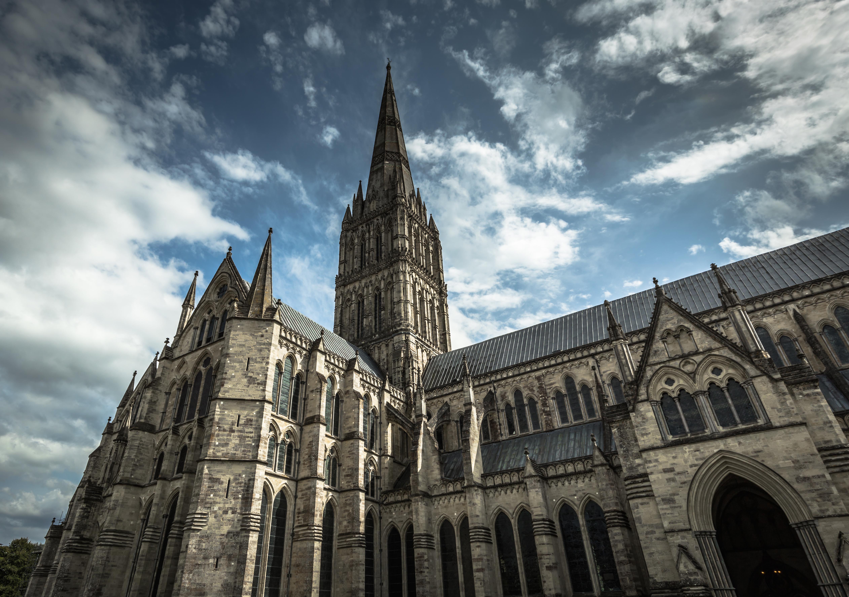 Looking up at Salisbury Cathedral.