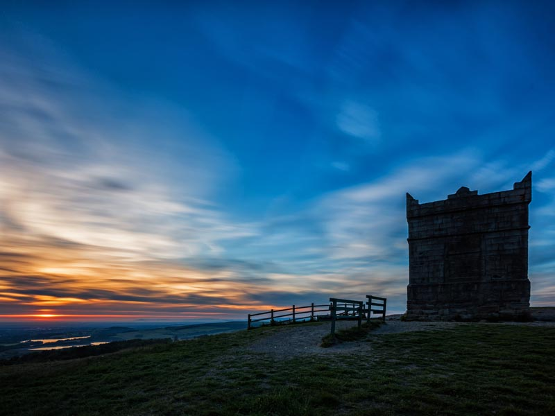 Rivington Pike at sunset.