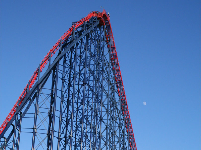 Rollercoaster at Blackpool Pleasure Beach.