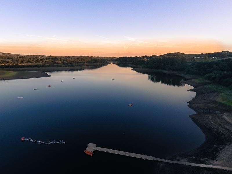 Tittesworth Reservoir at sunset.