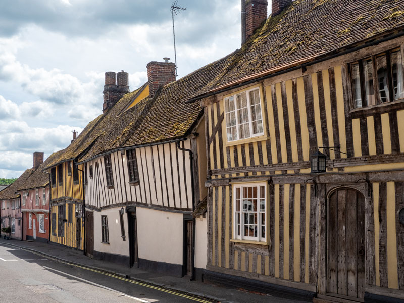 Historic medieval houses in Lavenham, Suffolk.