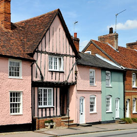 A terrace of old houses at Lavenham, Suffolk.