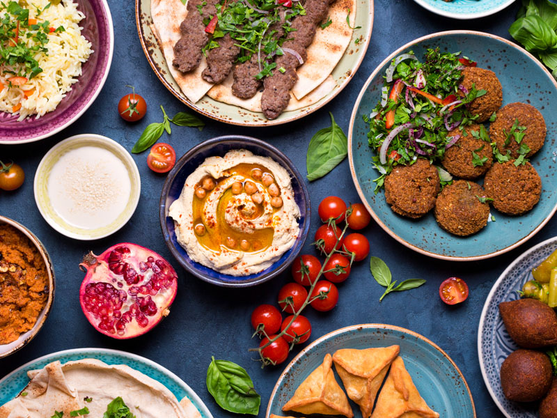 Middle eastern or arabic dishes and assorted meze,