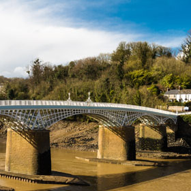 Old road bridge over River Wye connecting Chepstow, Wales and Tutshill.