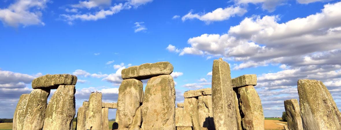 Stonehenge under an amazing blue skie.