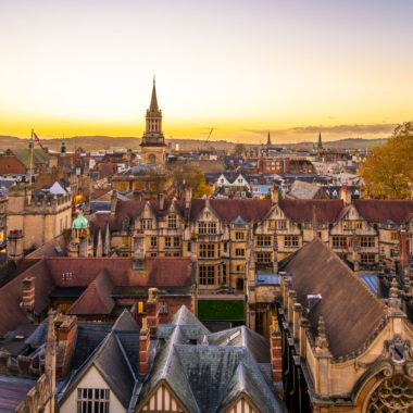 Oxford City viewed from the tower of St. Mary church, Oxfordshire.