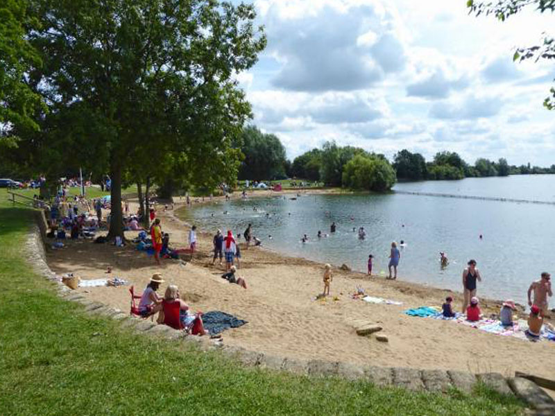 A beach in a country park in Gloucestershire.