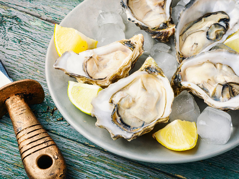 Oysters on a plate with some lemons.