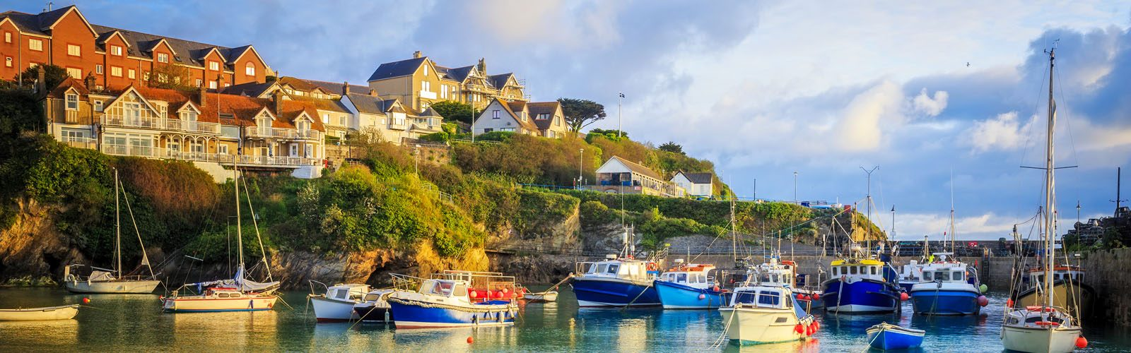 Fishing boats in the harbour at Newquay on the Cornwall.