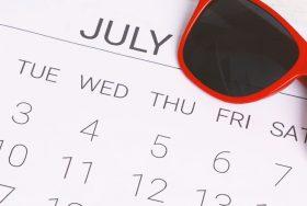 Calendar with sunglasses.