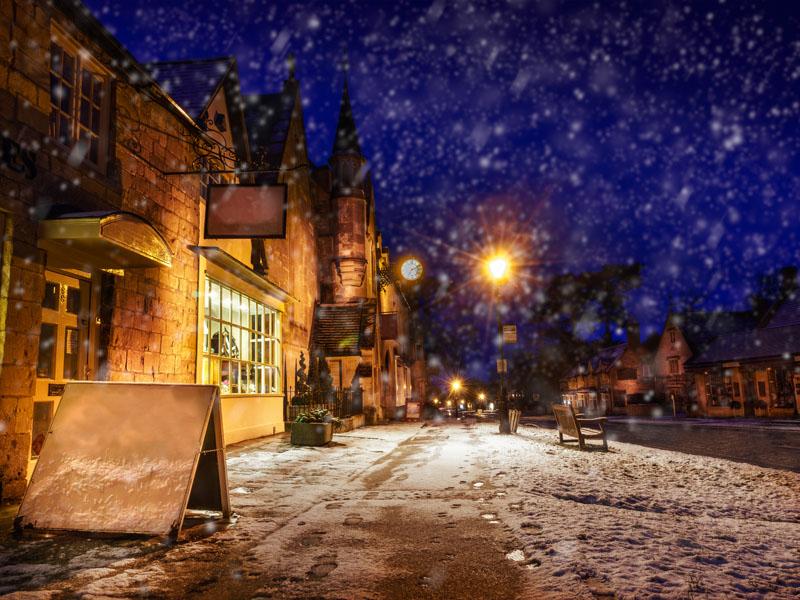 Gloucestershire high street snowy.