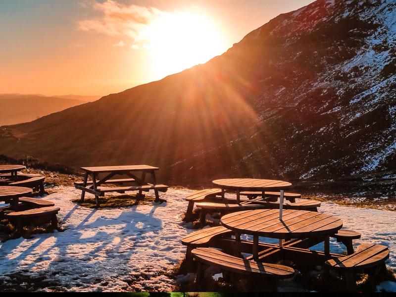 Snow winter sunset at the top of Kirkstone Pass, Cumbria.